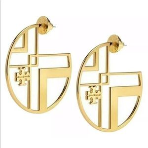 **TORY BURCH** Gold Linear Logo Drop Earrings